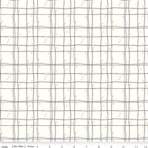 Riley Blake Mod Meow in Checked Cream Fabric 0.5m