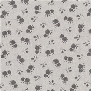 Shabby Chic Grey Roses On Grey Cotton Linen Fabric 0.5m