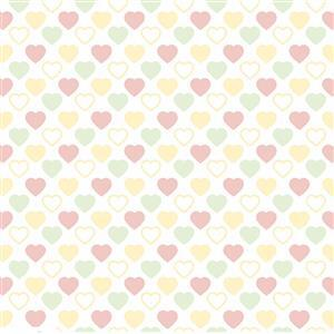 Quilters Basic Harmony Pastel Hearts Fabric 0.5m