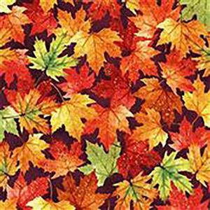 Hoffman Autumn Is In The Air Mulberry Gold Fallen Leaves Fabric 0.5m