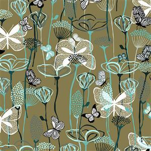 Flying Around Butterflies On Verdun Fabric 0.5m