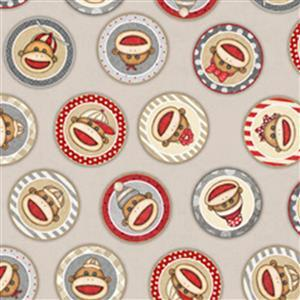 Dan Morris Monkey Biz Sock Monkey Circles Light Taupe Fabric 0.5m
