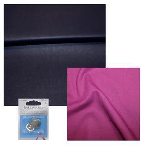 Indigo PU Leather, Magenta Cotton & Snap Bundle