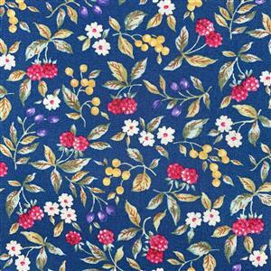 Country Floral Red Berries on Blue Fabric 0.5m Exclusive