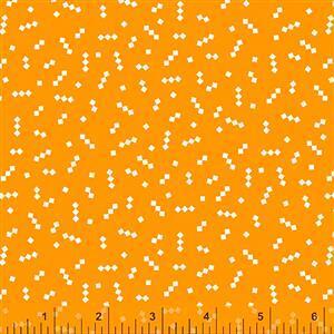 Posy Mod Star On Orange Fabric 0.5m