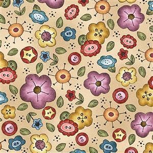 Michael Miller Born to Sew Floral on Beige Fabric 0.5m