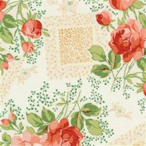 Henry Glass Violets Garden Main Floral Cream Fabric 0.5m