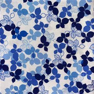Lapis Leaves 4 White Fabric 0.5m