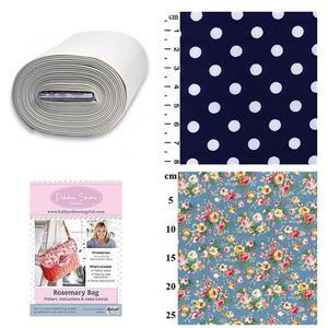 Pink & Orange Roses Debbie Shore Rosemary Bag Kit: Pattern, Bosal & Fabric (1m)