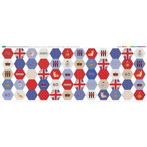 Queens Birthday Large Hexies Fabric Panel (140 x 58cm)