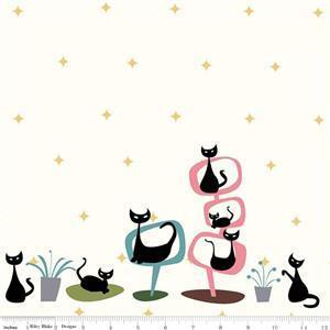 Riley Blake Mod Meow Lazy Cats Cream Fabric 0.5m