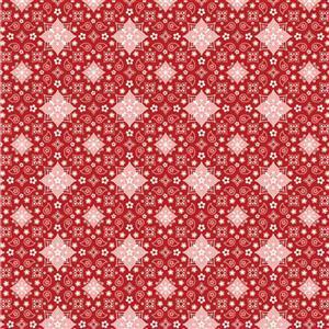 Poppie Cotton Farmgirls Unite Bandanas Forever On Red Fabric 0.5m