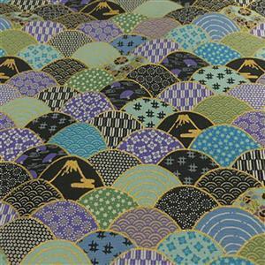 Mito Multi Crescent Design Fabric Metallic 0.5m