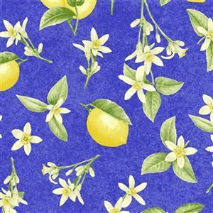 Just Lemons in Floral Lemons on Blue Fabric 0.5m