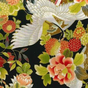 Sevenberry Gold Metallic Traditional Japanese Cranes, Floral Black Fabric 0.5m