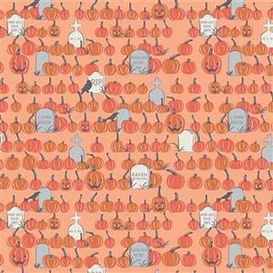 Riley Blake Spooky Hollow Orange Graveyard Fabric 0.5m