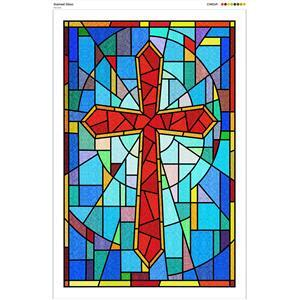 Stained Glass Fabric Panel: 60x90cm.