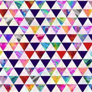 Geofetti Digital White Triangular Tessellation Fabric 0.5m
