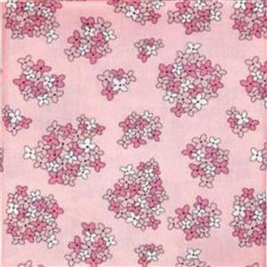 Country Roads Pink Blossoms on Pink Fabric 0.5m