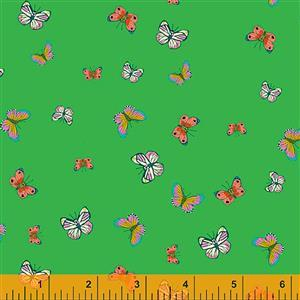 Posy Butterflies On Green Fabric 0.5m