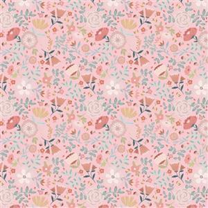 Poppie Cotton Goose Creek Gardens Wildflowers On Pink Fabric 0.5m