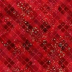 Hoffman Gingerbread Lane Red Gold Fabric 0.5m