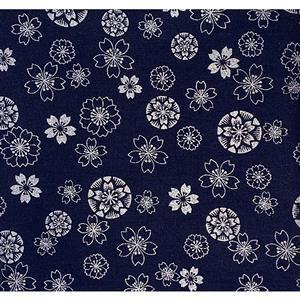 Anan Silver Floral on Navy Fabric Metallic 0.5m