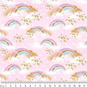 Rainbow Unicorns On Pink Fabric 0.5m