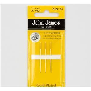 John James Pack of 3 Gold Plated Cross Stitch Needles Size 24