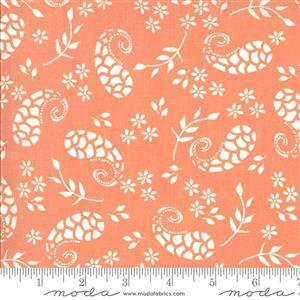 Moda Balboa by Sherri & Chelsi White Paisley on Coral Fabric 0.5m