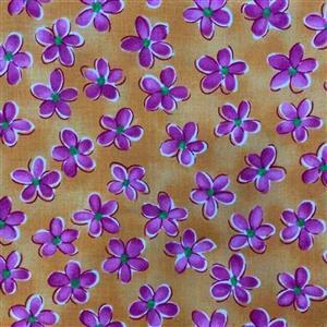 Whimsy Daisical in Pretty Orange Fabric 0.5m
