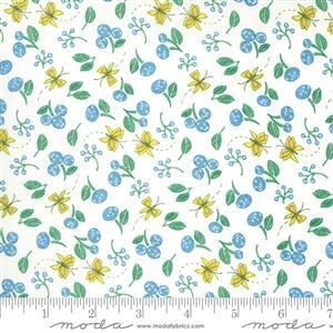 Moda Cottage Bleu in White Butterfly Doodle Fabric 0.5m