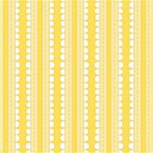 Basically Hugs Yellow Scallop Stripe Fabric 0.5m