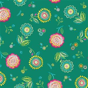 Happy Days in Rose Teal Fabric 0.5m