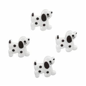 Novelty Dog Buttons Black & White Pack of 4