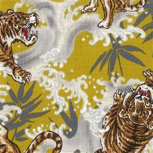 Tsume Tigers On Yellow Fabric 0.5m