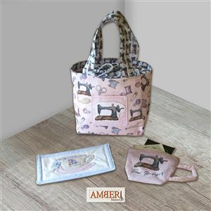 Amber Makes Vintage Sewing Mug Bag Set Kit: Instructions, Panel, Spring Toggle and Cord