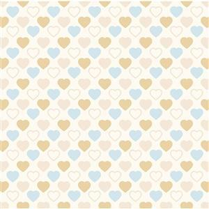 Quilters Basic Harmony Sand & Blue Hearts Fabric 0.5m