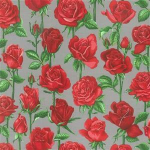 Bright Roses on Grey Fabric 0.5m