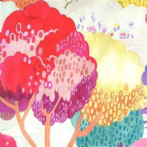 Moda Fanciful Forest  in Pink Forest Fabric 0.5m