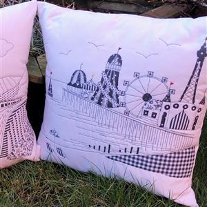 Delphine Brooks Pier Monochrome Cushion Kit, Instructions, Fabric Panel & Fabric (0.5m)