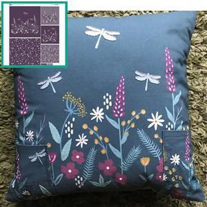 Scandi Floral Purple Cushion Bundle: Fabric Panel & Fabric (0.5m)