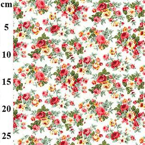 Red & Orange Roses on Ivory Cotton Poplin Fabric 0.5m