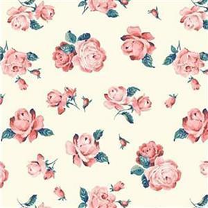 Liberty Emporium Collection Merchant Bright's Regent Rose Lemon Fabric 0.5m