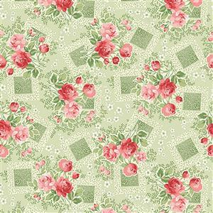 Henry Glass Violet's Garden in Pink Rose Fabric 0.5m