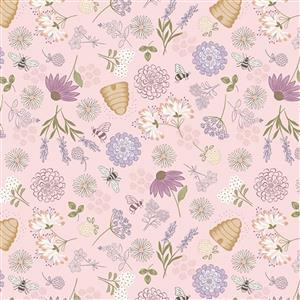 Lewis & Irene Queen Bee Floral On Pink Fabric 0.5m