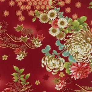 Kujo Red Metallic Fabric 0.5m