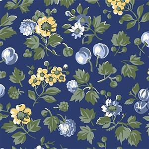 Liberty Orchard Garden Collection Blue Wild Cherry Fabric 0.5m