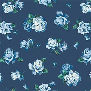 Liberty Emporium Collection Discovery Regent Rose Turquoise Fabric 0.5m