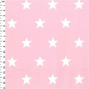 Rose & Hubble Cotton Poplin Pink Stars Fabric 0.5m